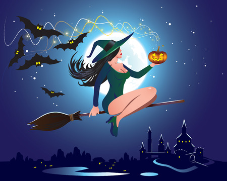 broomstick: Illustration of a witch flying on a broom
