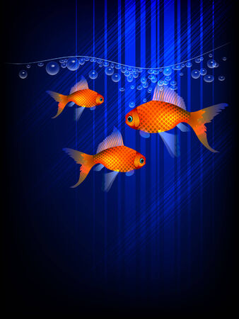 Background with three goldfishes Stock Vector - 8835867