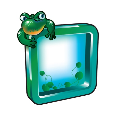 A frog sitting on the frame Stock Vector - 9930005