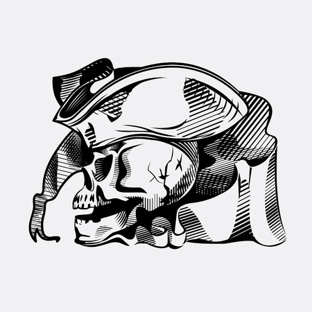 Drawing a skull in a pirate hat Vector