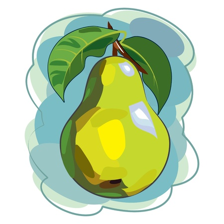 Pear, painted in watercolor style Vector