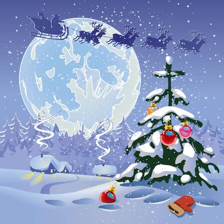 Christmas landscape. The miracle that occurs in the night Vector