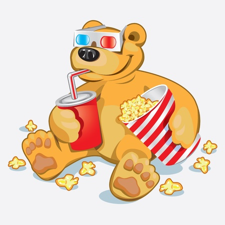 Funny Bear at the cinema Vector