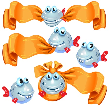 Five funny fish, some of them with a banner Illustration