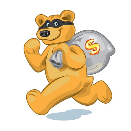 Bear in a mask who runs away with a big bag of money Illustration