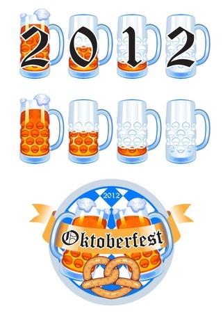 jarra de cerveza: juego de fiesta de la cerveza Oktoberfest Vectores