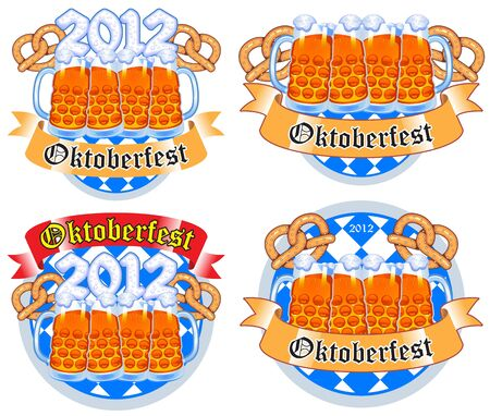 set of Oktoberfest beer festival Vector