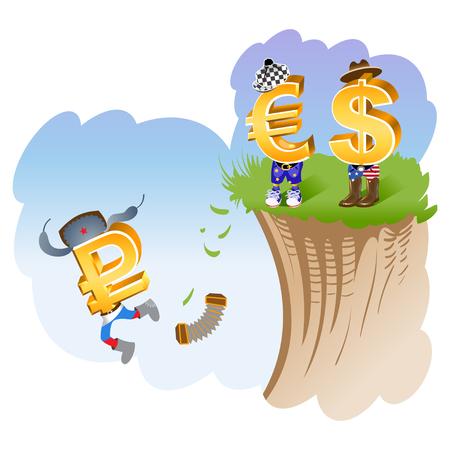 us coin: La ca�da del rublo. Ilustraci�n s�mbolo del rublo, el d�lar y el euro. Vectores