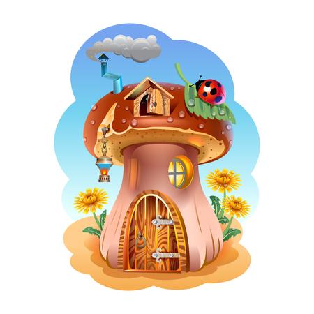 catarina caricatura: Fabulosa casa del hongo. Ilustraci�n. Vectores