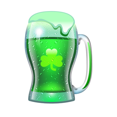 Mug of green beer for the holiday Illustration