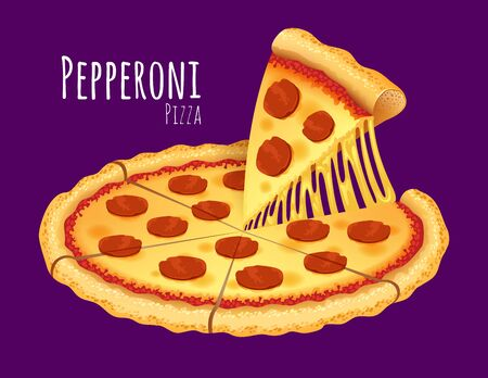pepperoni pizza: A vector illustration of a cooked Pepperoni Pizza Illustration