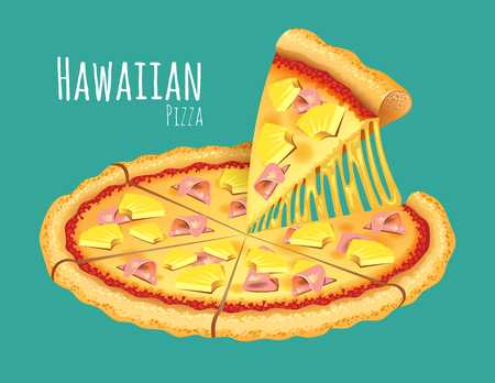 A vector illustration of a cooked Hawaiian Pizza Illustration
