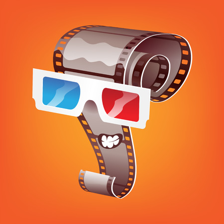 Cartoon film in 3d glasses Illustration