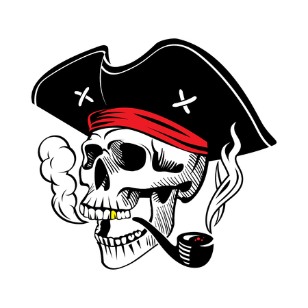 Illustration of a pirate skull in a hat with a smoking pipe.