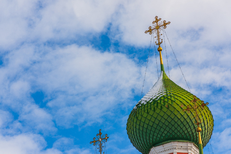 Church of Alexander Nevsky in Pereslavl-Zalessky, Russia. Church tower against the sky 스톡 콘텐츠