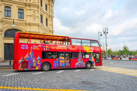 MOSCOW, RUSSIA - JUNE 14, 2019: sightseeing bus in Moscow
