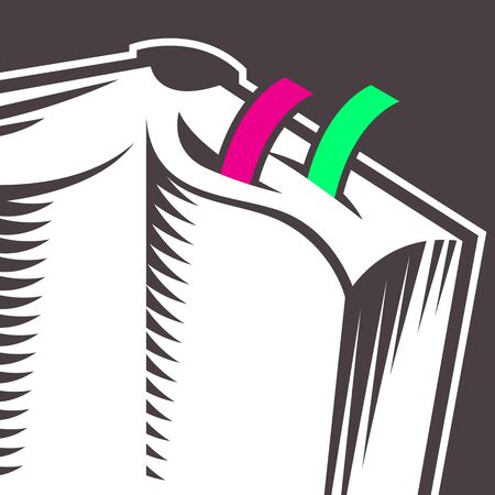 Оpen book icon. Abstract illustration of an open book with color bookmarks Stok Fotoğraf - 133484122