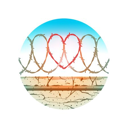 Illustration of a reinforced concrete fence with barbed wire. The shape of the heart is visible in the barbed wire