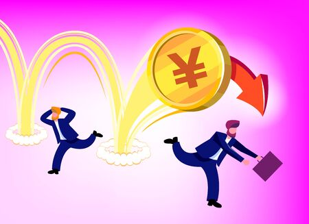 Illustration of the depreciation of the national currency of Japan (yen) in the form of a gold coin. Businessmen run away in panic fear