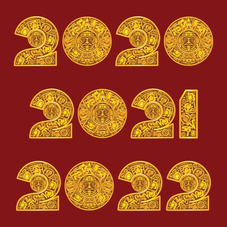 2020, 2021 and 2022 in the style of the Mayan calendar 向量圖像