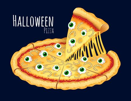 A vector illustration of a cooked Halloween Pizza