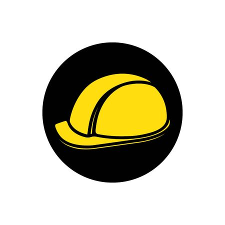 Yellow construction helmet. Illustration of a flat vector icon. Çizim