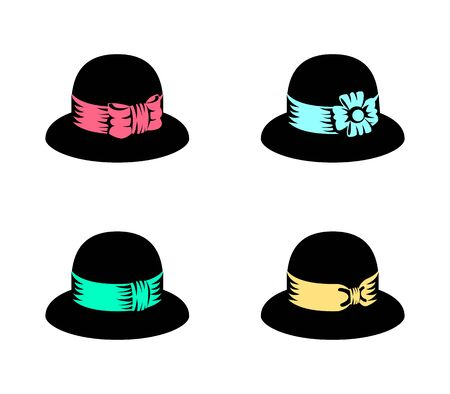 Vector illustration of abstract female retro hats
