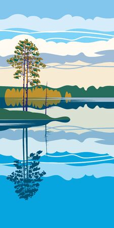 Vertical abstract illustration of a forest lake in the evening. Beautiful expanse of water with reflections