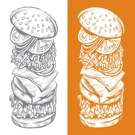 Painted Burger. Options with different backgrounds for your design. Vector illustration