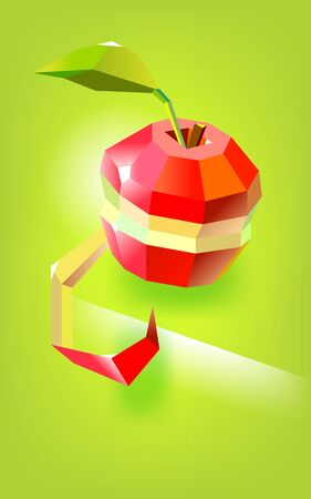 Juicy apple is a low poly fruit with partially peeled skin and a green leaf. Stylized minimalistic. Vector illustration Çizim