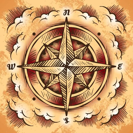 Antique compass rose on a grunge paper, stylized clouds
