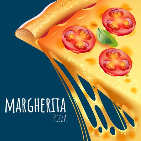 A vector illustration of a cooked Margherita Pizza Çizim