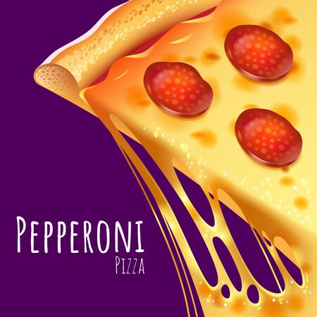 A vector illustration of a cooked Pepperoni Pizza Çizim