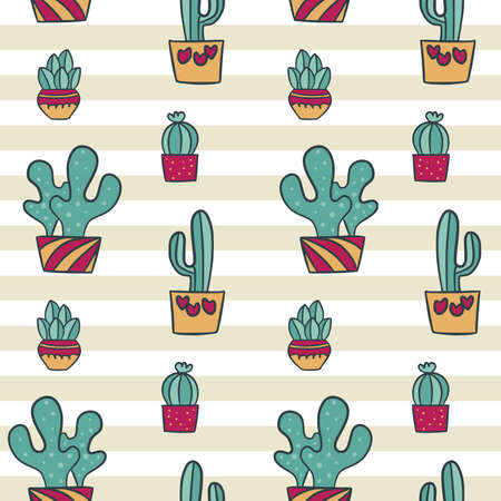 Cute Cactus Seamless Pattern Repeated Illustration Background Texture