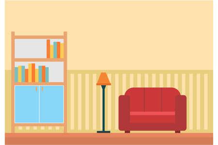 Flat illustration Living Room Interior Home Modern Apartment Design Flat Vector Illustration