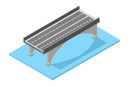 Modern Isometric illustration of the concept of bridge traffic, vector illustration. Suitable for Diagrams, Infographics, Book Illustration, Game Asset, And Other Graphic Related Assets