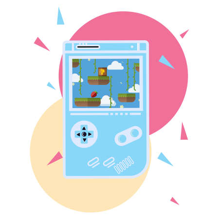 illustrations playing games on portable devices, vector illustrations. Suitable for Diagrams, Infographics, Book Illustration, Game Asset, And Other Graphic Related Assets Vettoriali