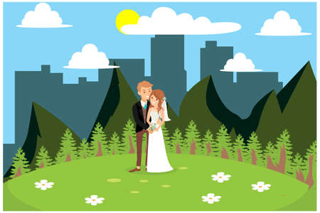 illustration of celebrating a wedding in a garden, vector illustration Suitable for Diagrams, Infographics, Book Illustration, Game Asset, And Other Graphic Related Assets