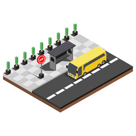 Vector isometric icon or infographic element representing low poly bus approaching bus stop on the street