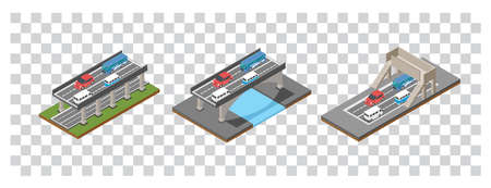 Modern Isometric Set illustration of the concept of bridge traffic, vector illustration. Suitable for Diagrams, Infographics, Book Illustration, Game Asset, And Other Graphic Related Assets 矢量图像