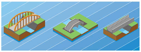 Modern Isometric Set illustration of the concept of bridge traffic, vector illustration. Suitable for Diagrams, Infographics, Book Illustration, Game Asset, And Other Graphic Related Assets