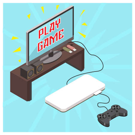 Isometric illustration of playing games with console, vector illustration vector illustration Suitable for Diagrams, Infographics, Book Illustration, Game Asset, And Other Graphic Related Assets
