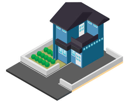 Town House in isometric view with trees and garden 向量圖像
