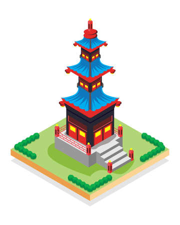 isometric pagoda, vector illustration Suitable for Diagrams, Infographics, Book Illustration, Game Asset, And Other Graphic Related Assets Ilustração