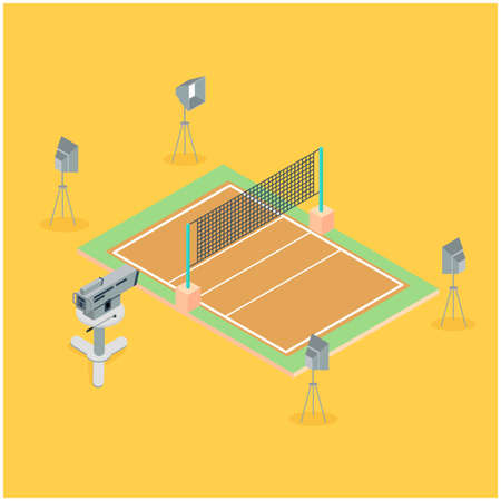 Broadcast telecommunication isometric composition television van and shooting team working outdoors vector illustration