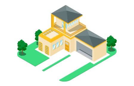 isometric luxury home with car parking, vector illustration - Vector Illustration