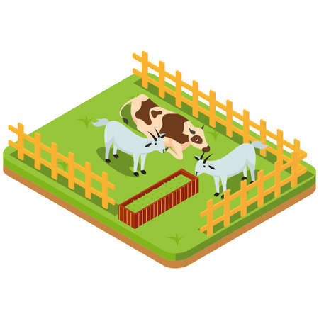 Livestock include animals in the paddock, with symmetrical compositions in mud puddles on a green background vector illustration Ilustração