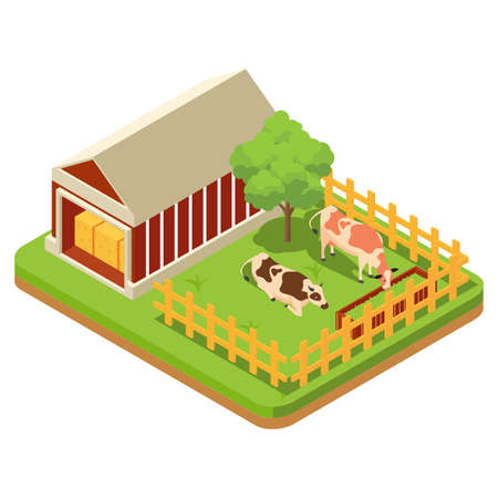 The composition of agriculture is regulated isometrically with livestock and livestock vehicles and fishing is attempted isolated vector illustration - Vector Illustration