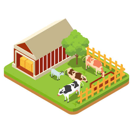 The composition of agriculture is regulated isometrically with livestock and livestock vehicles and fishing is attempted isolated vector illustration
