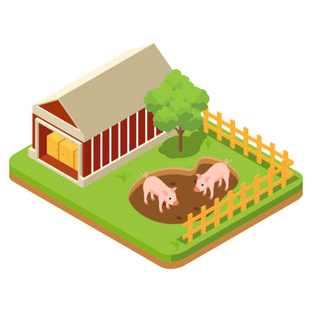 The composition of agriculture is regulated isometrically with livestock and livestock vehicles and fishing is attempted isolated vector illustration Vecteurs